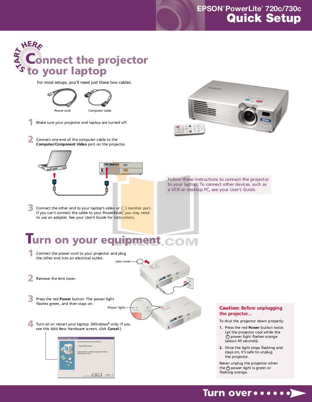 pdf for Epson Projector PowerLite 720c manual