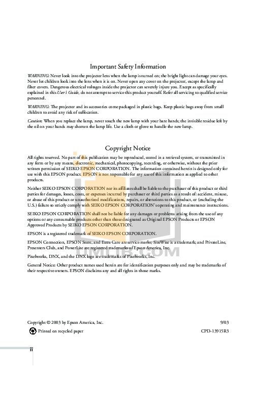 Epson Projector PowerLite 720c pdf page preview