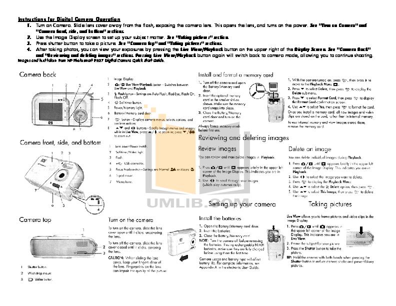HP Digital Camera Photosmart E327 pdf page preview