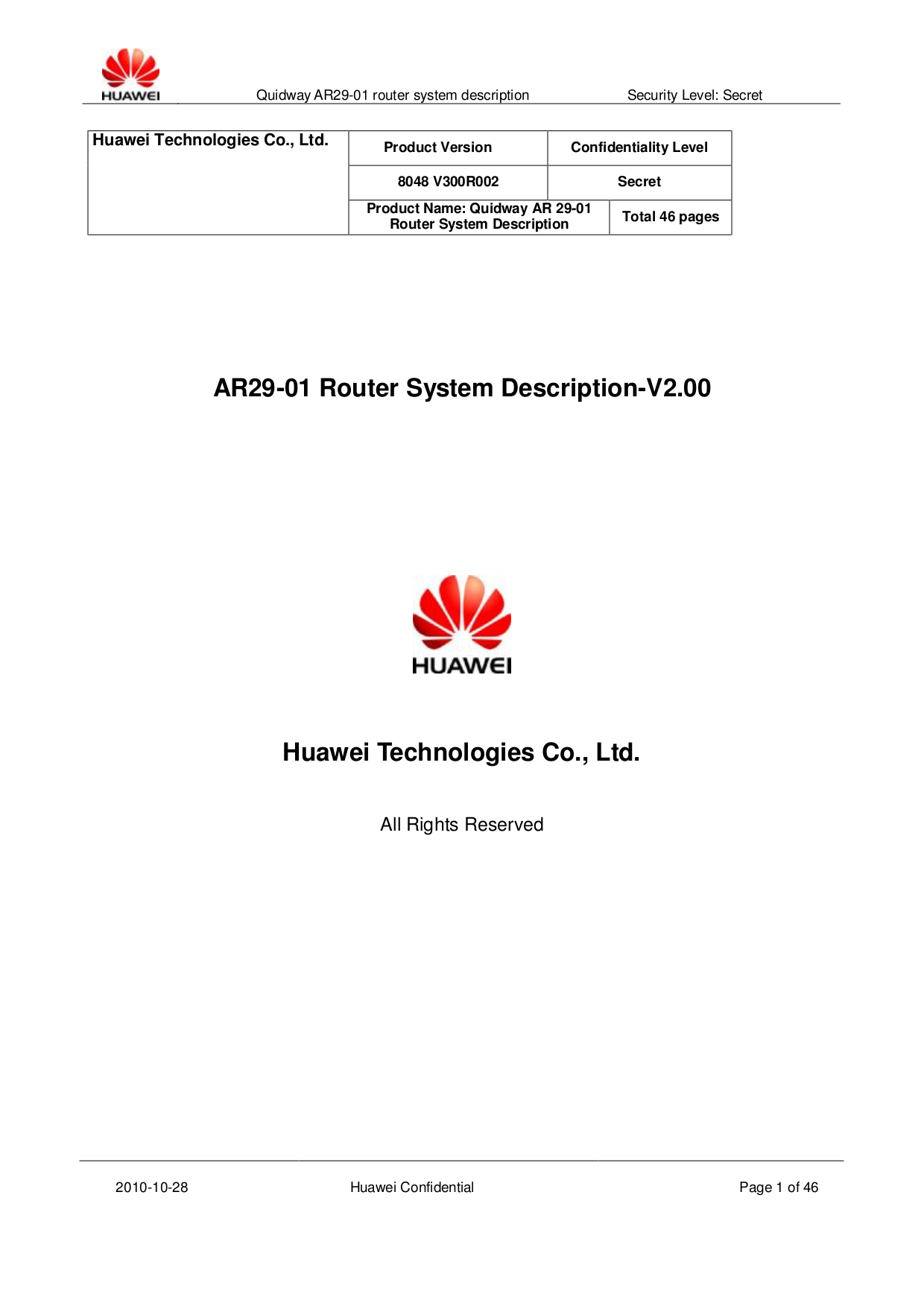 Download free pdf for Huawei Quidway AR-28-09 Wireless Router manual