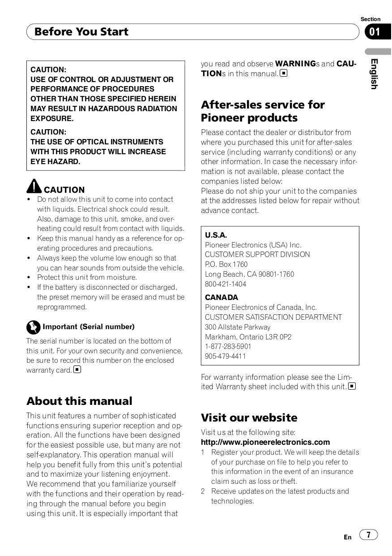 PDF manual for Pioneer Car Receiver Premier DEH-P710BT