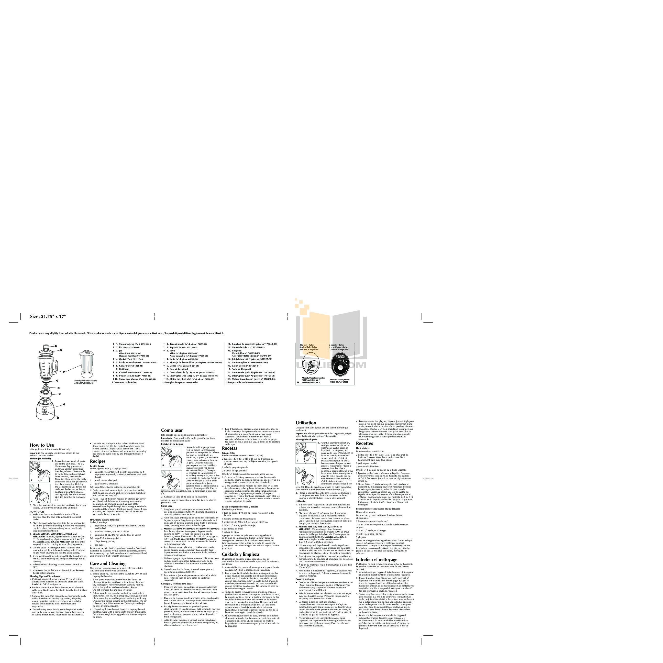 pdf for BlackAndDecker Blender MTB600 manual