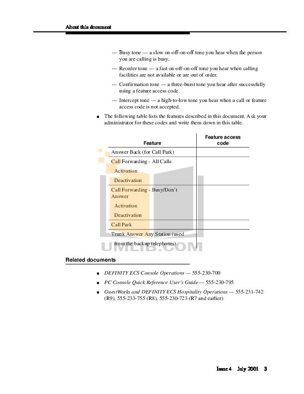 PDF manual for Avaya Telephone Definity 8410D