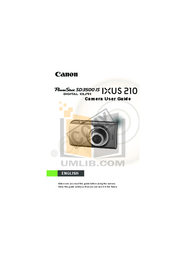pdf for Canon Digital Camera Powershot SD3500 IS manual