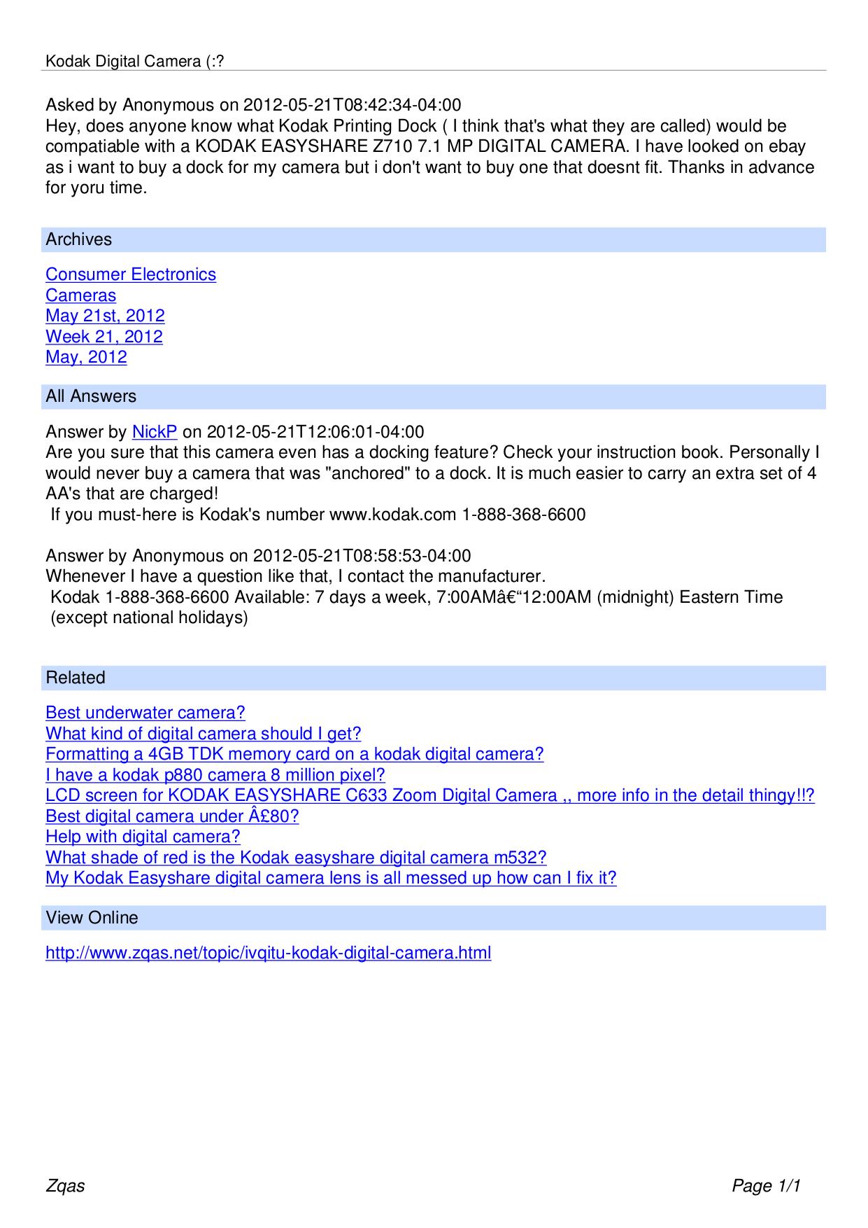 pdf for Kodak Digital Camera EasyShare C633 manual