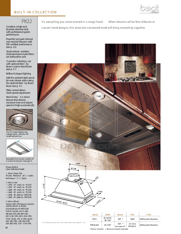 pdf for Broan-NuTone Other L3848 Hood Liners manual