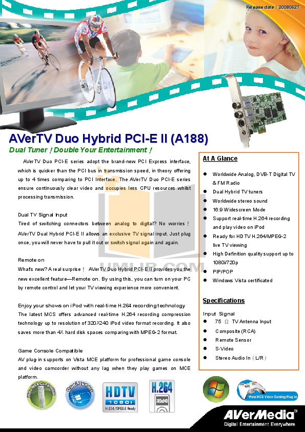pdf for Avermedia Other AVerTV Duo Hybrid PCI-E TV Tuner Cards manual