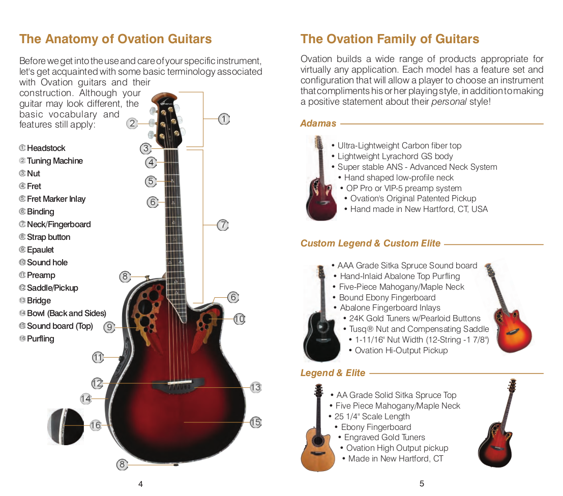 PDF manual for Ovation Guitar Applause AA12