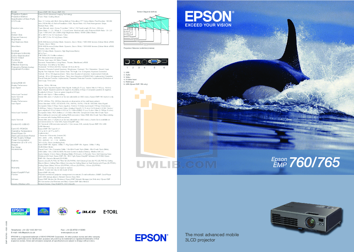 pdf for Epson Projector EMP-70 manual
