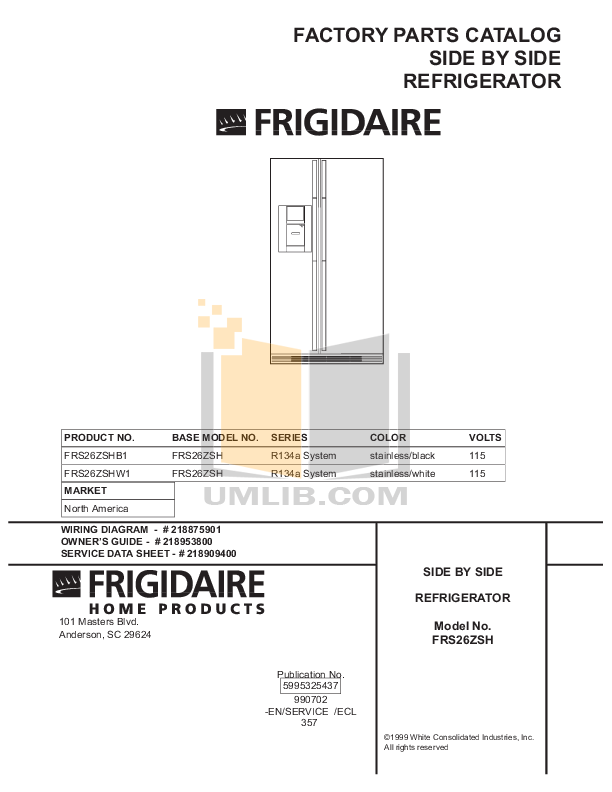 pdf for Frigidaire Refrigerator FRS26ZSGW4 manual