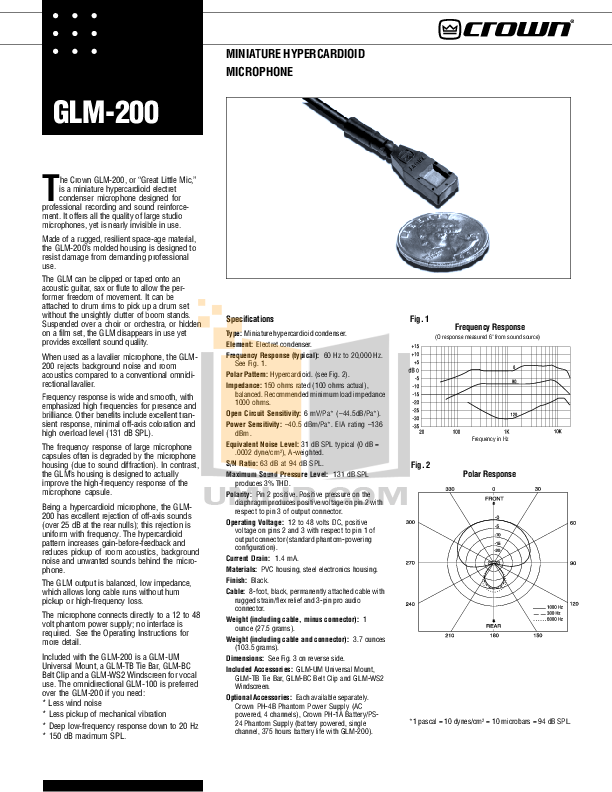 pdf for Crown Other GLM-100E Microphones manual