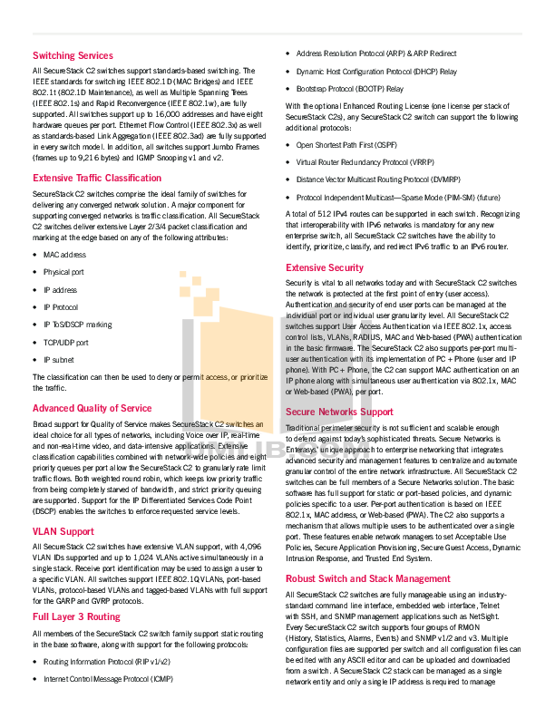 PDF manual for Enterasys Switch SecureStack C2 C2G124-48