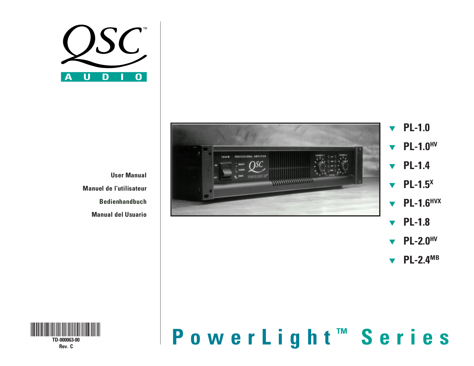 pdf for QSC Amp PowerLight PL-1.4 manual