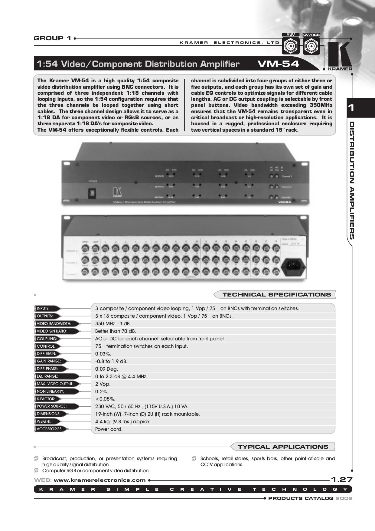 pdf for Kramer Other VM-54 Distribution Amplifiers manual