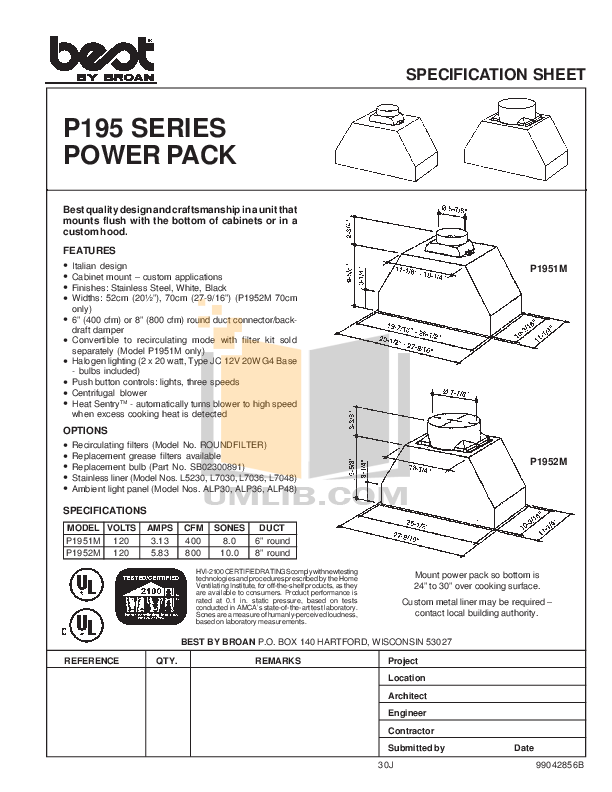 pdf for Broan-NuTone Other P1952M Hoods manual