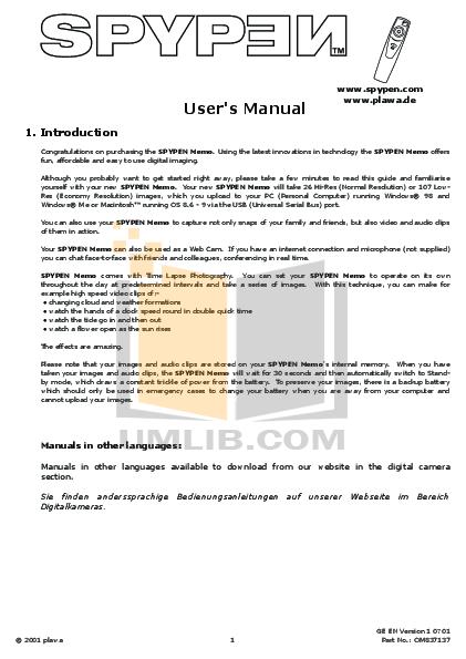 pdf for Cool-Icam Digital Camera Soccer Cam manual