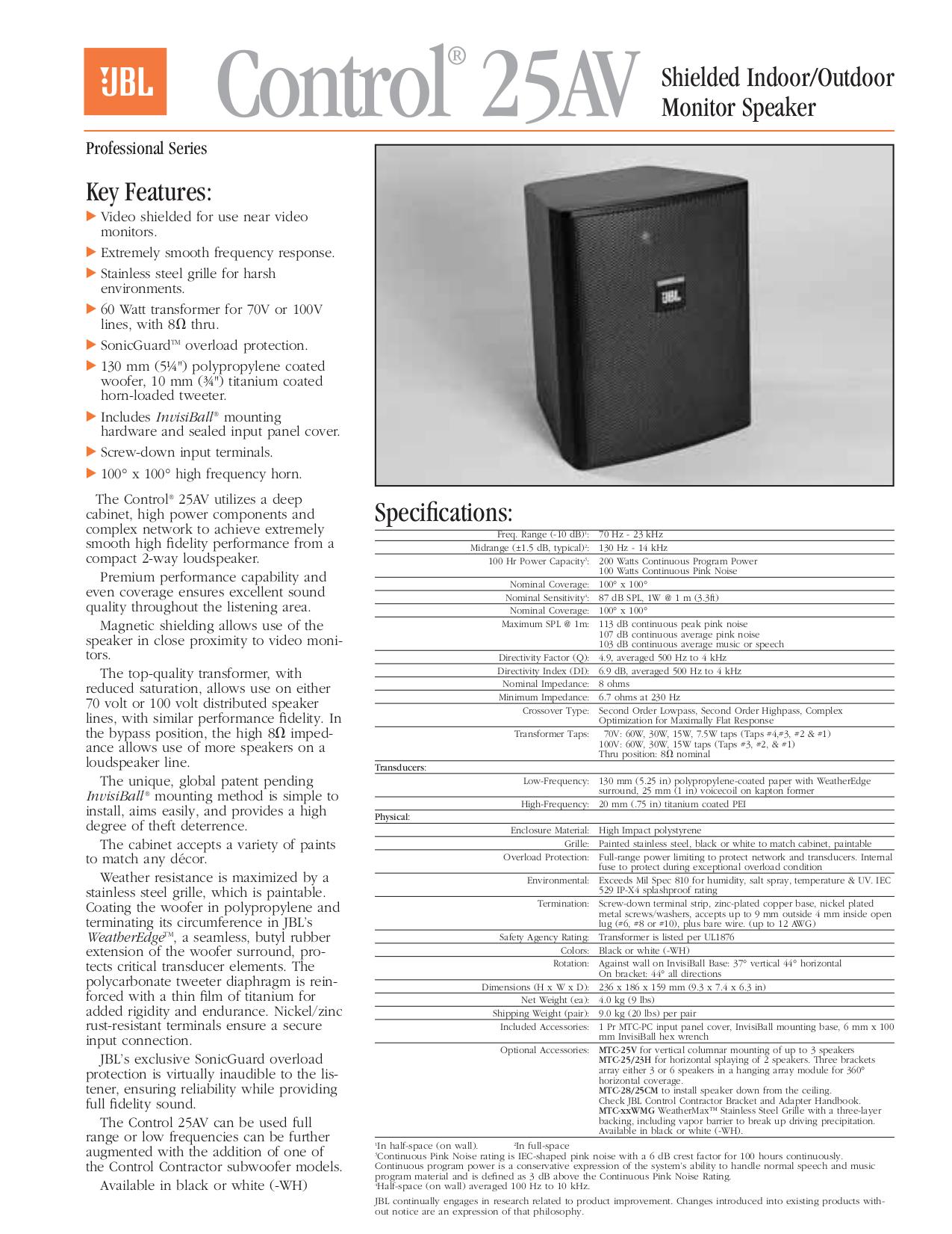download free pdf for jbl control control 25 speaker manual Speakers JBL Control Series