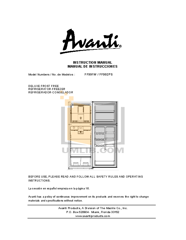 pdf for Avanti Refrigerator FF992PS manual