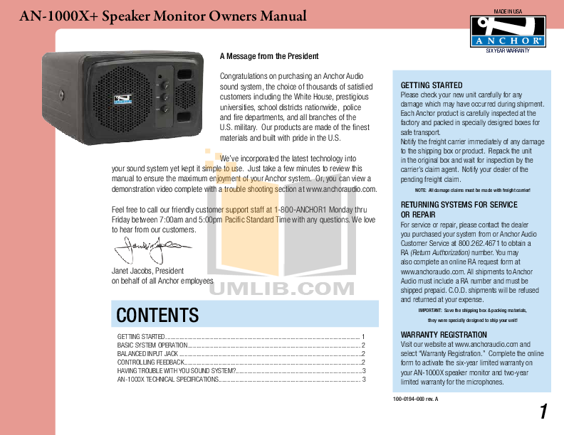pdf for Anchor Speaker AN-1000X manual