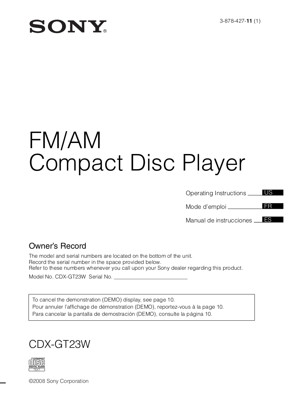 CDXGT23W_US_ES_FR.pdf 0 download free pdf for sony xplod cdx gt23w car receiver manual sony cdx gt24w wiring diagram at bayanpartner.co