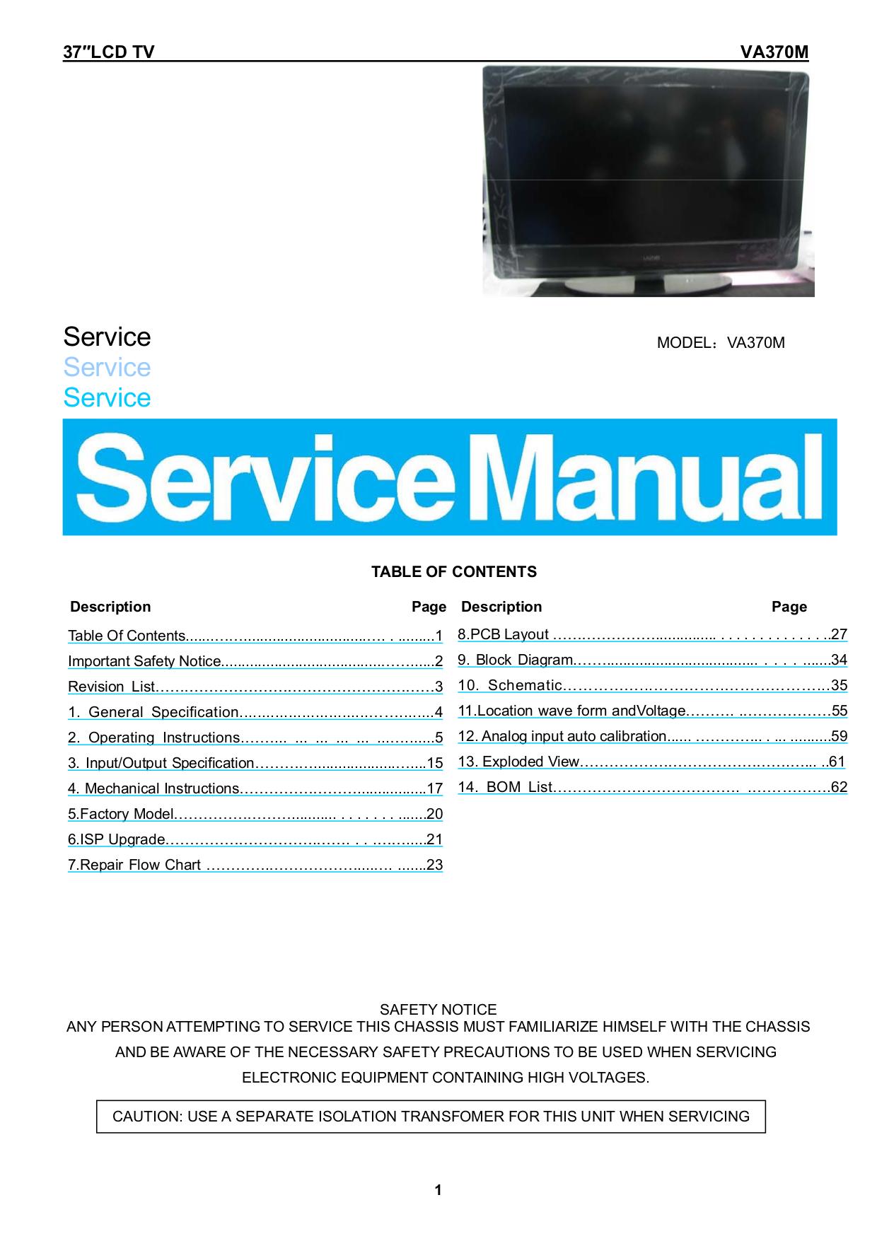 PDF manual for Vizio TV VA370M