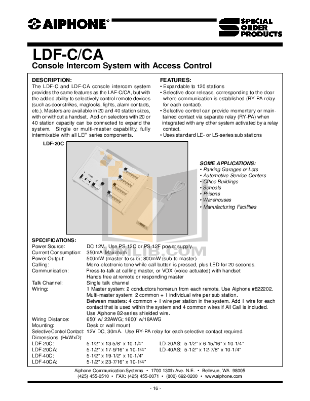 pdf for Aiphone Other LEF-LD Intercoms manual