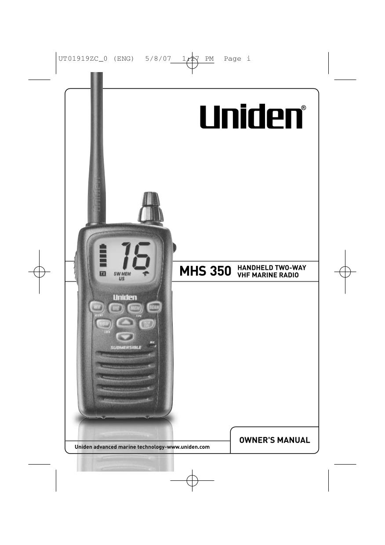 pdf for Uniden 2-way Radio MHS350 manual