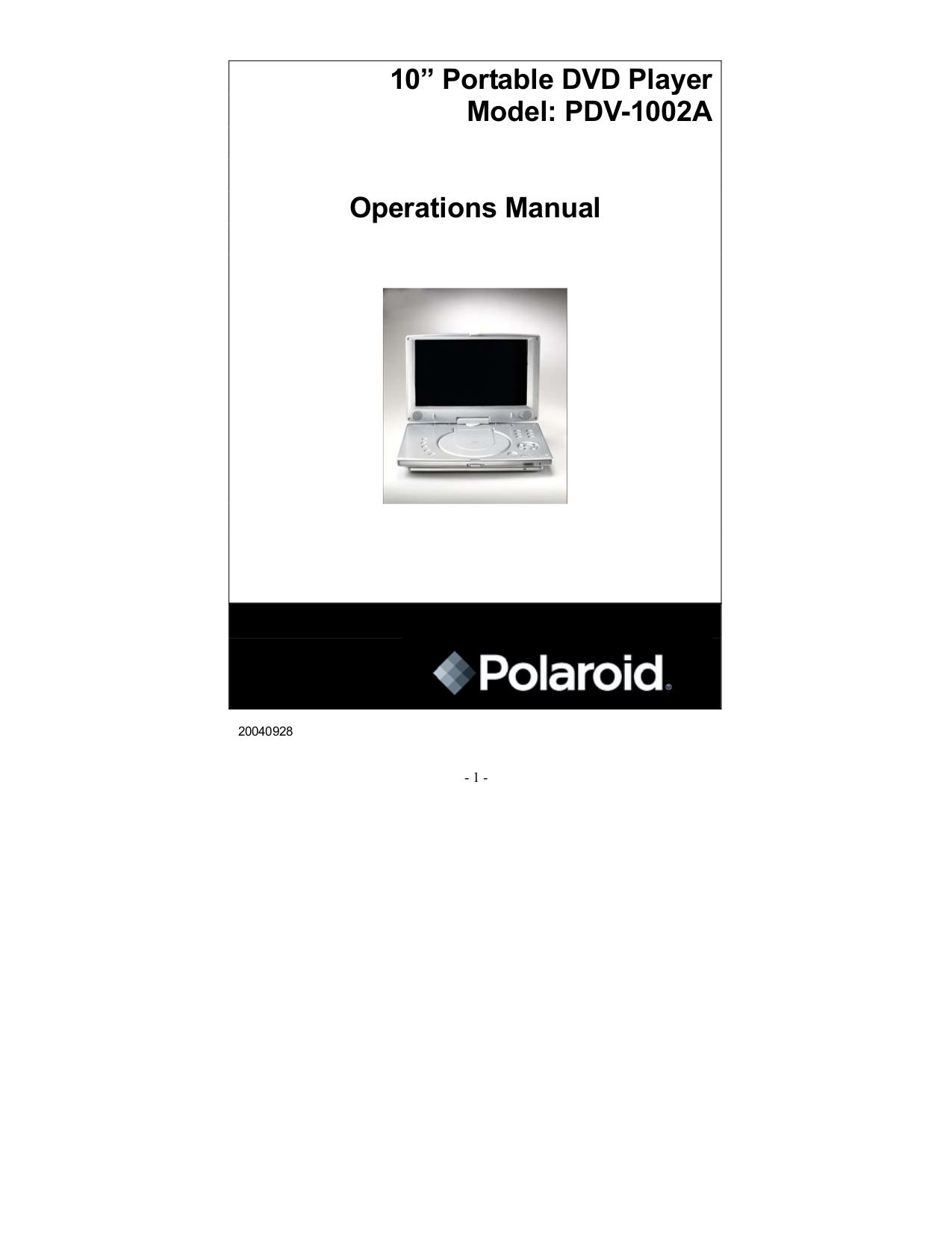 download free pdf for polaroid pdv 1002a portable dvd player manual rh umlib com Polaroid Portable DVD Player Amazon CNET Top DVD Player Portable