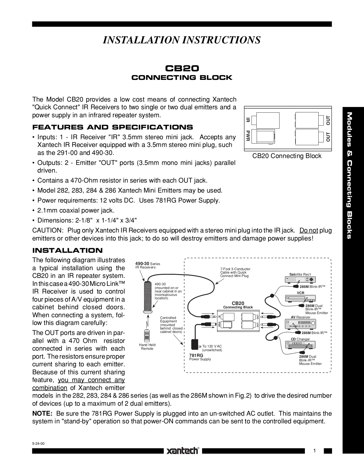 104_CB20.pdf 0 download free pdf for xantech 291 00 kit ir repeater system other xantech 789-44 wiring diagram at suagrazia.org