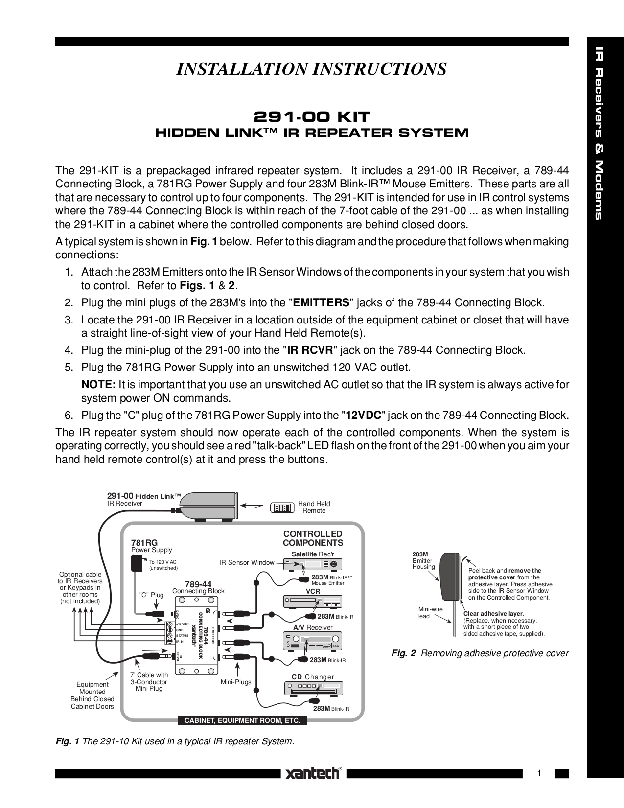 63_291KIT.pdf 0 download free pdf for xantech 291 00 kit ir repeater system other xantech 789-44 wiring diagram at honlapkeszites.co