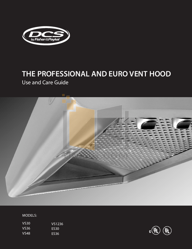 pdf for DCS Other VS1236 Vent Hood manual