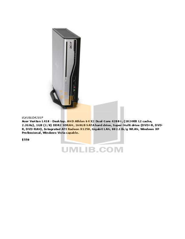Acer Desktop Veriton M460 pdf page preview