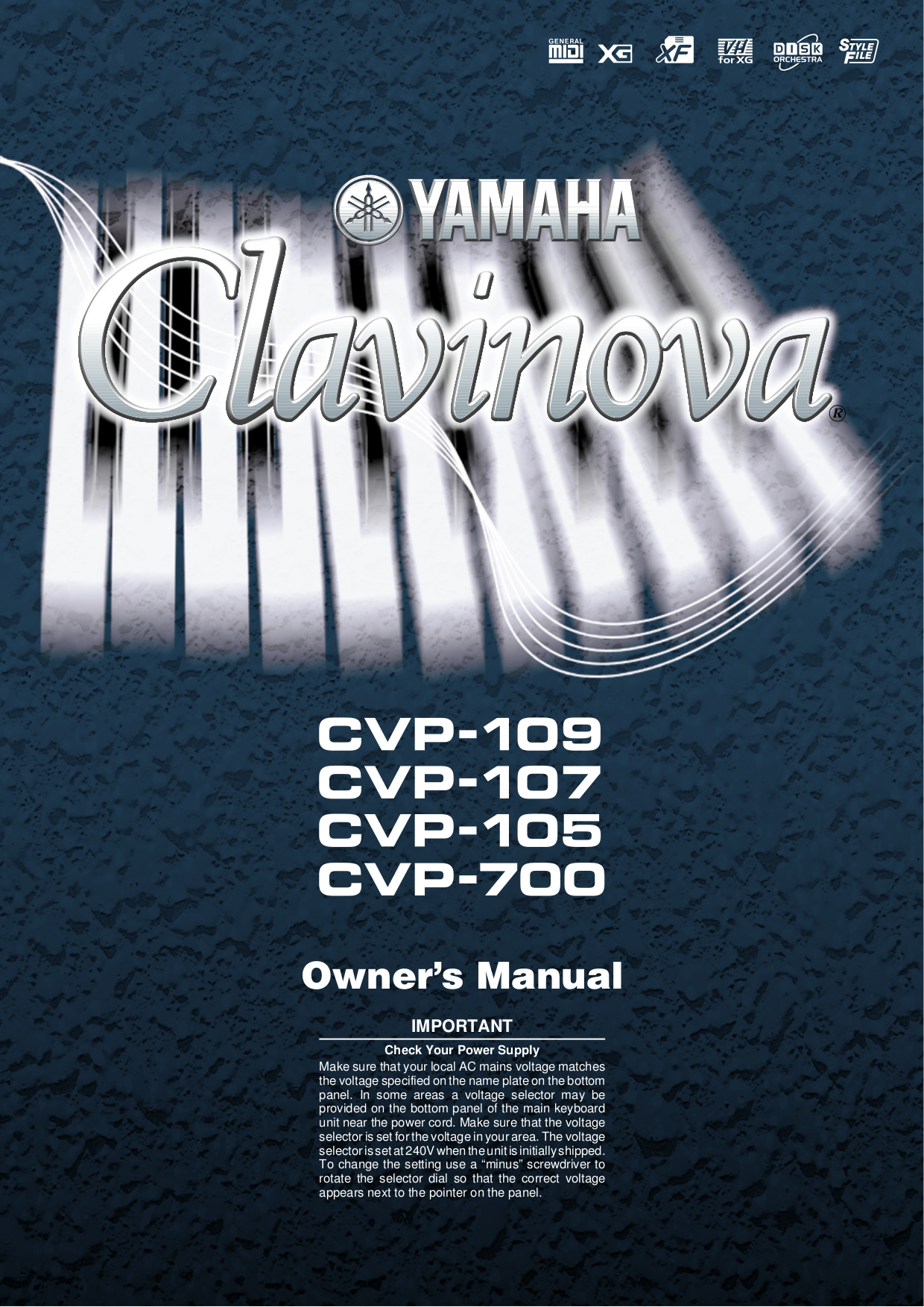 pdf for Yamaha Music Keyboard CVP-105 manual