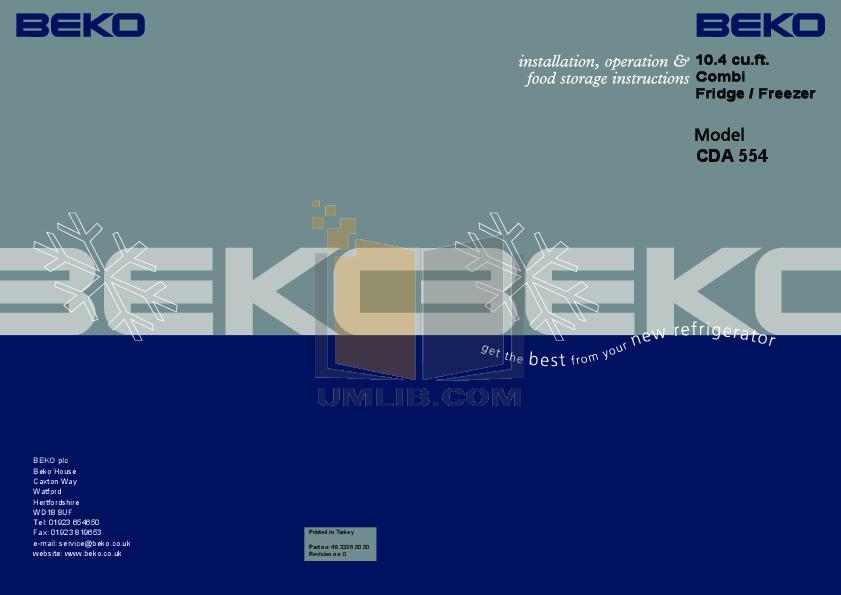 pdf for Beko Refrigerator CDA554 manual