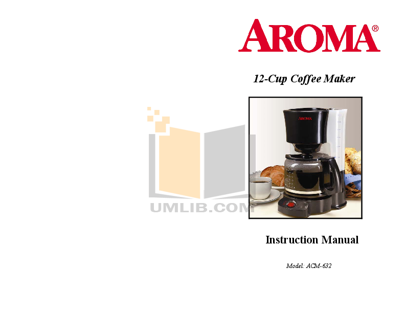 pdf for Aroma Coffee Maker ACM-632 manual