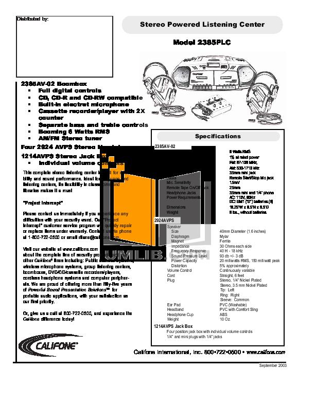 pdf for Califone Other 2385AV-02 Audio manual