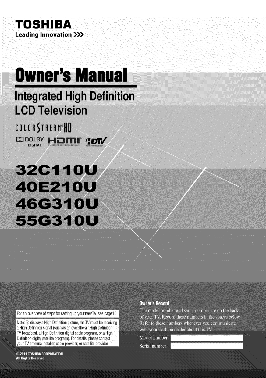 download free pdf for toshiba 40e210u tv manual rh umlib com Toshiba TV Owners Manual Toshiba 55HT1U Manual
