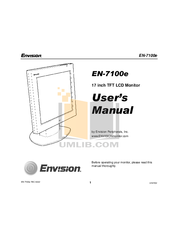 pdf for Envision Monitor EN7100e manual