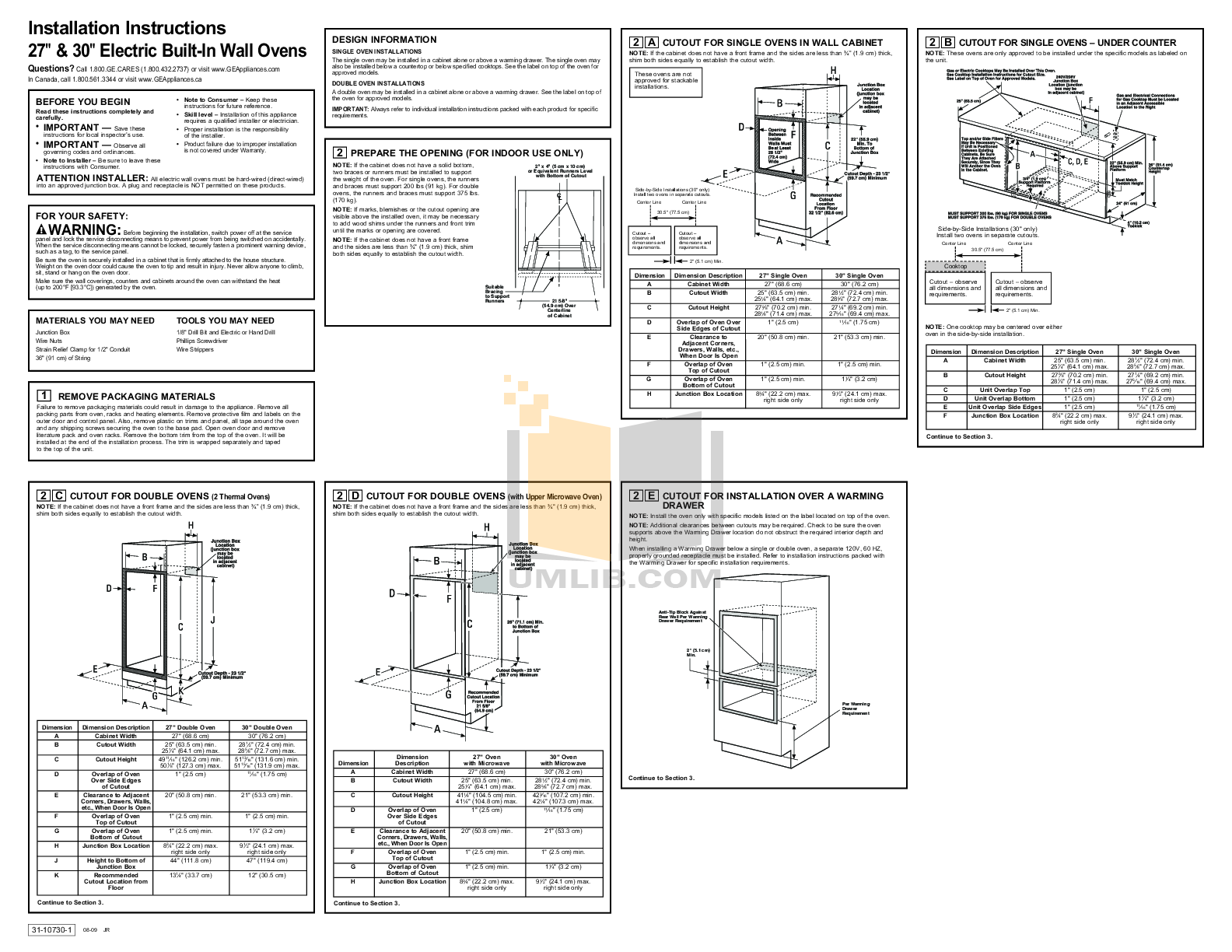 Download Free Pdf For Ge Jtp70spss Oven Manual Built In Wiring Instructions