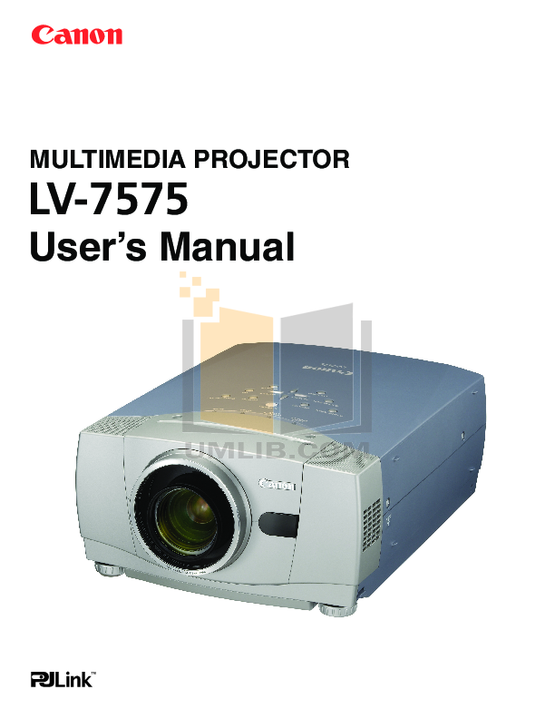pdf for Canon Projector LV-7575 manual