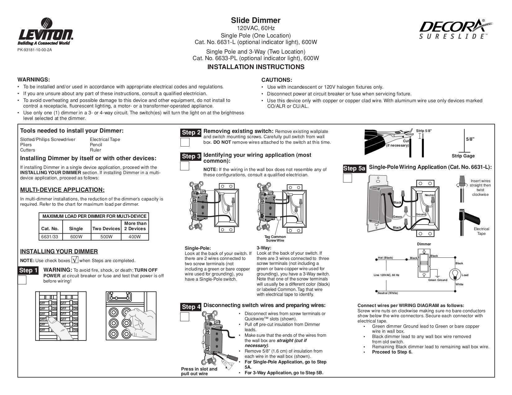 ... pdf 0 download free pdf for leviton sureslide 6631 l dimmers other  manual Light Dimmer Switch