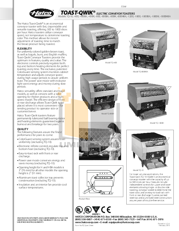 pdf for Hatco Other TQ-1800 manual