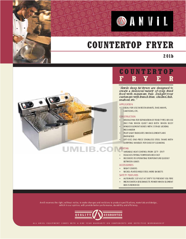 pdf for Anvil Other FFA7020 Fryers manual