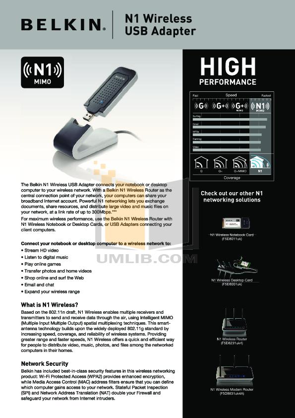 pdf for Belkin Router F5D8011 manual