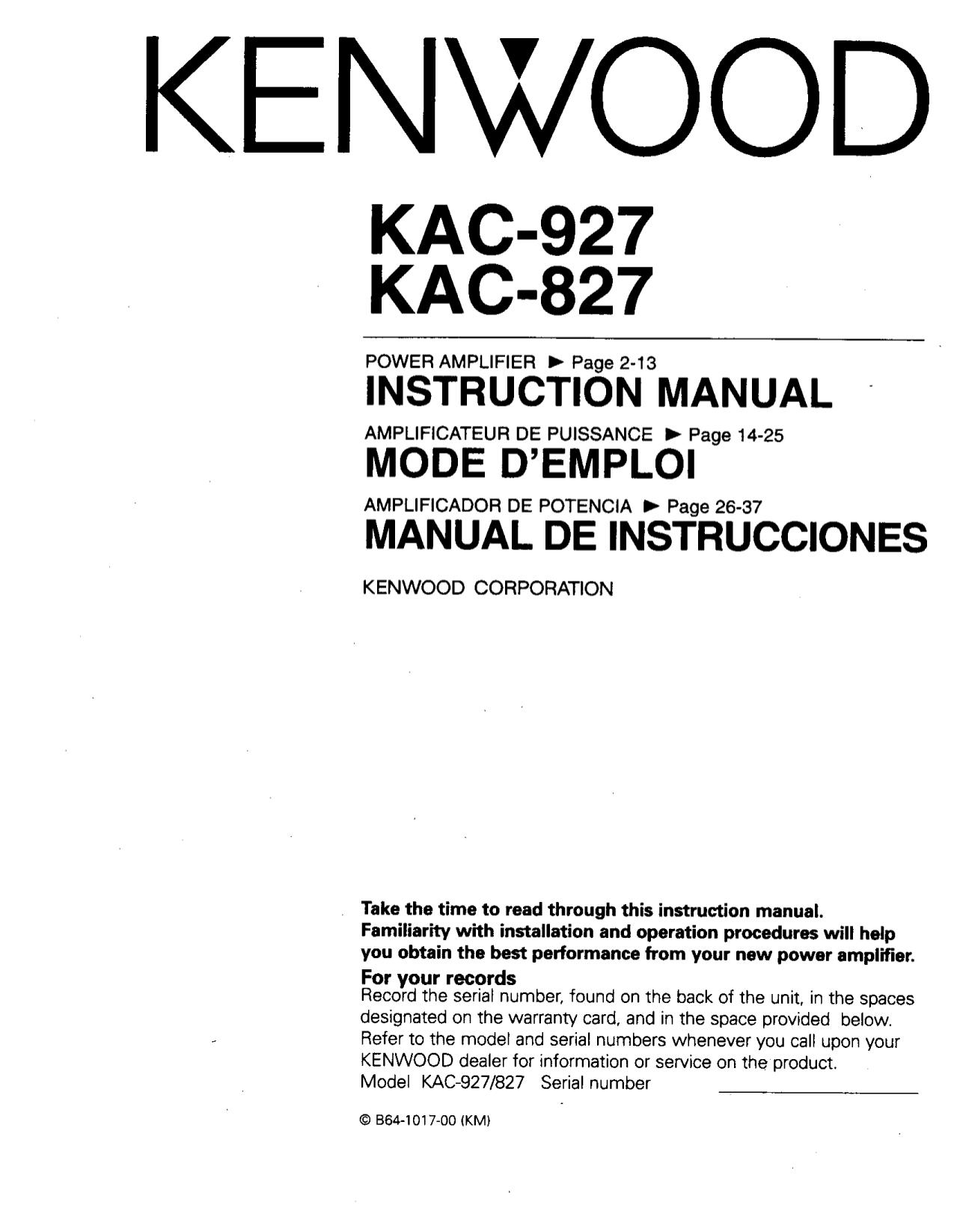 kenwood amp kac 7205 manual