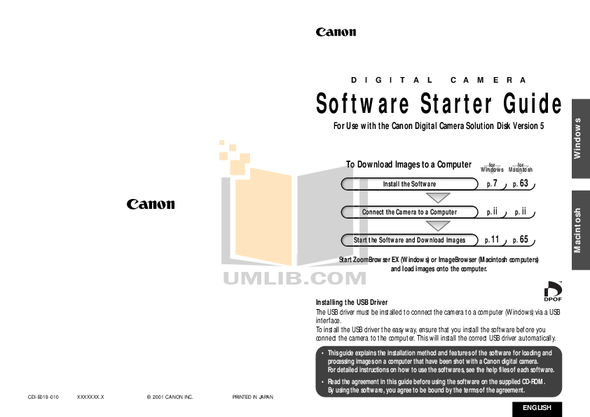 pdf for Canon Digital Camera Powershot S20 manual