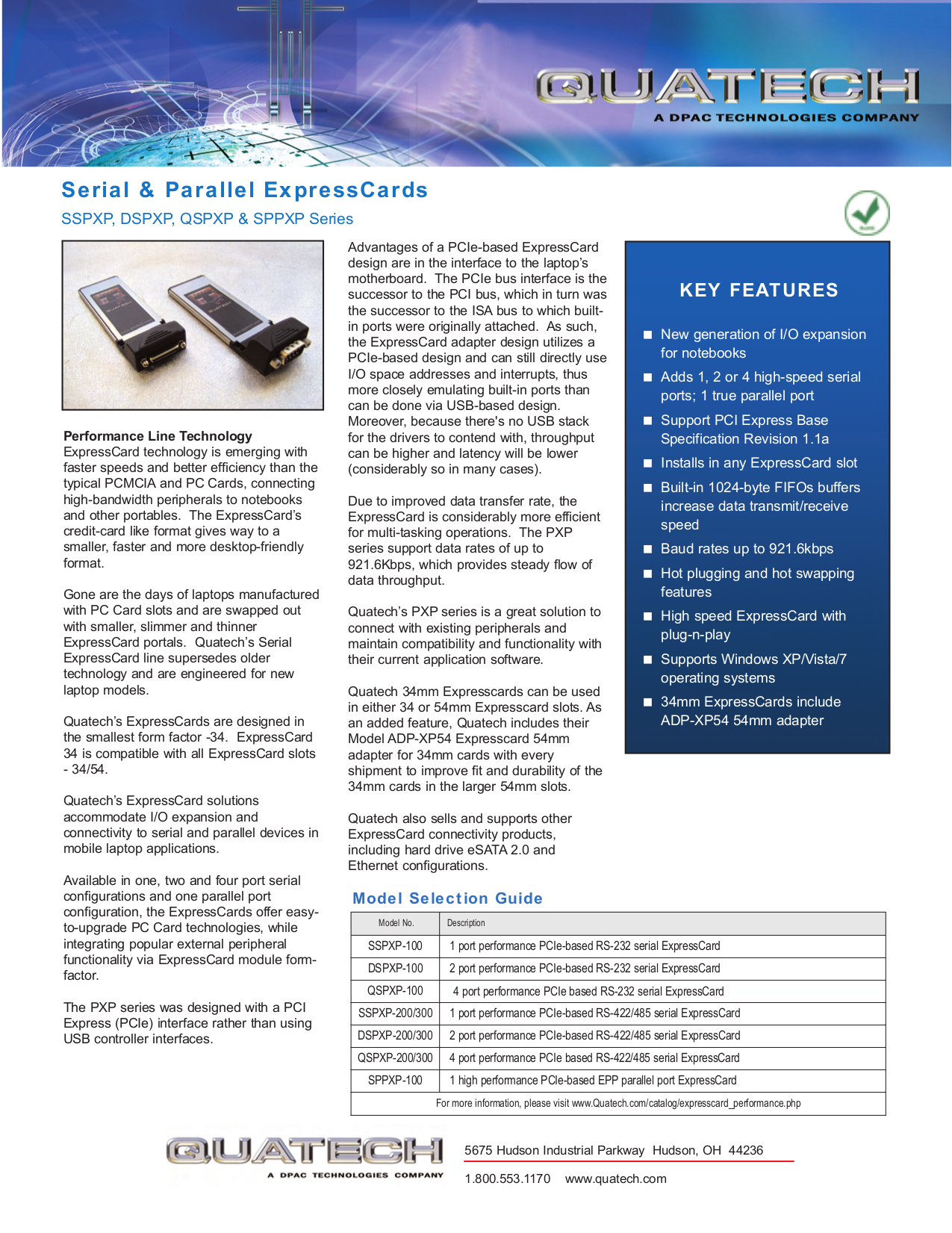 Quatech Other SSPXP-300 PCI Express Devices pdf page preview