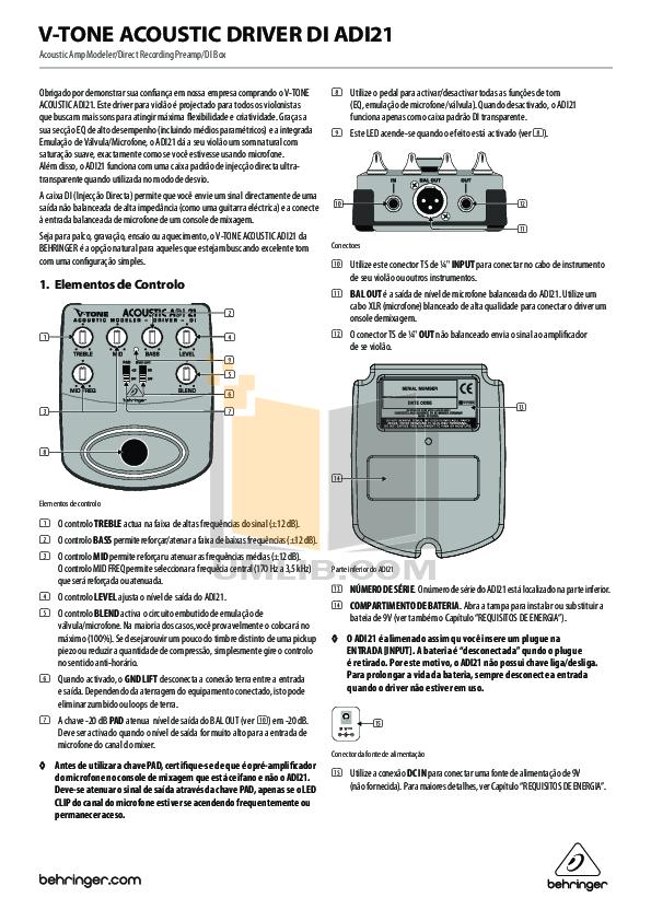 pdf for Behringer Amp ADI21 manual