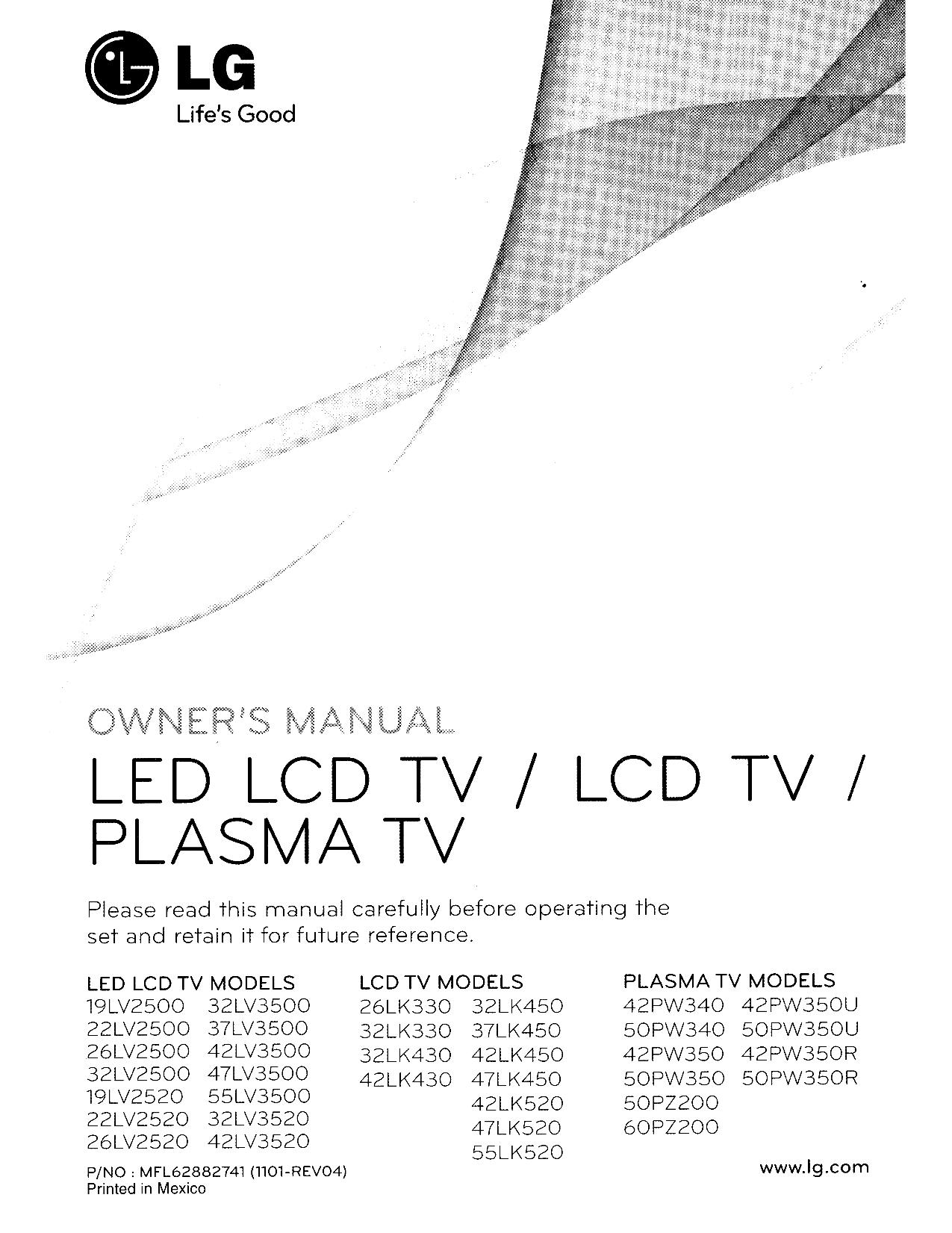 pdf for LG TV 32LK330 manual