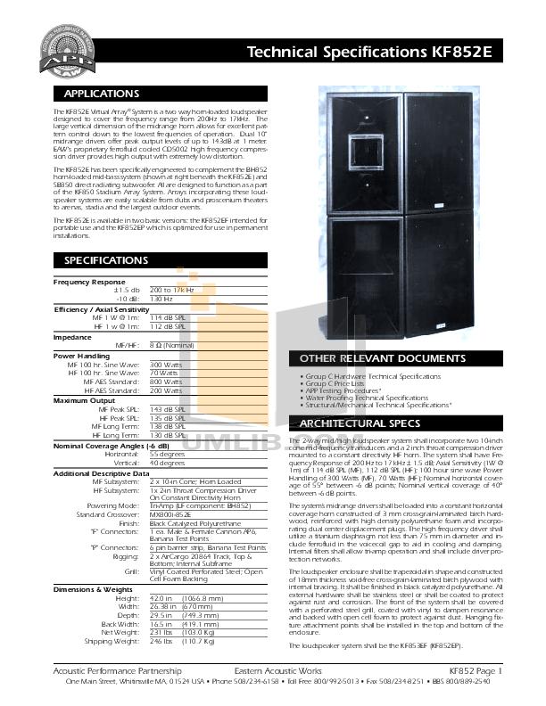 pdf for Eaw Speaker System KF852E manual